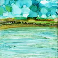 pond with cloudy blue sky landscape