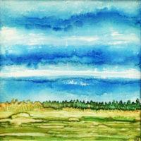 bright blue sky landscape
