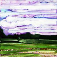 purple sky with purple flowers landscape