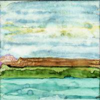 sky hills grass water landscape