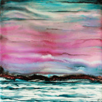 colorful sky with icy water landscape_sold