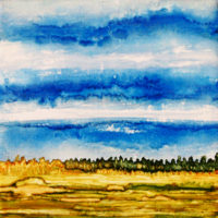 wheatfield and blue sky landscape_sold
