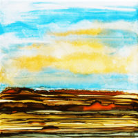yellow sky and dark fields landscape_sold