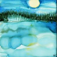 moon in sky water landscape