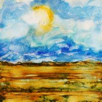 swirly blue sky landscape_sold